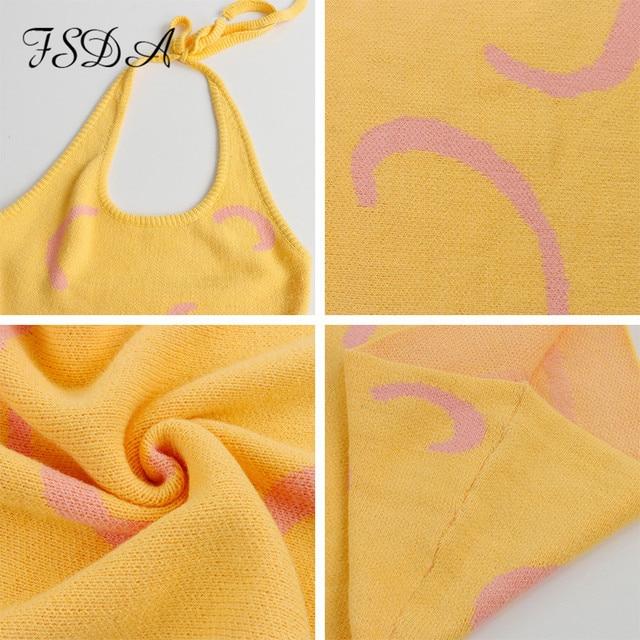 FSDA 2021 Knitted Bodycon Dress Women Y2K Halter Neck Summer Yellow Sleeveless Midi Backless Party Sexy Dresses Beach 6