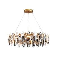 JMZM Moderne Runde Klar Kristall Kronleuchter Licht Luxus LED Anhänger Lampe Für Wohnzimmer Esszimmer Küche Innen Leuchten