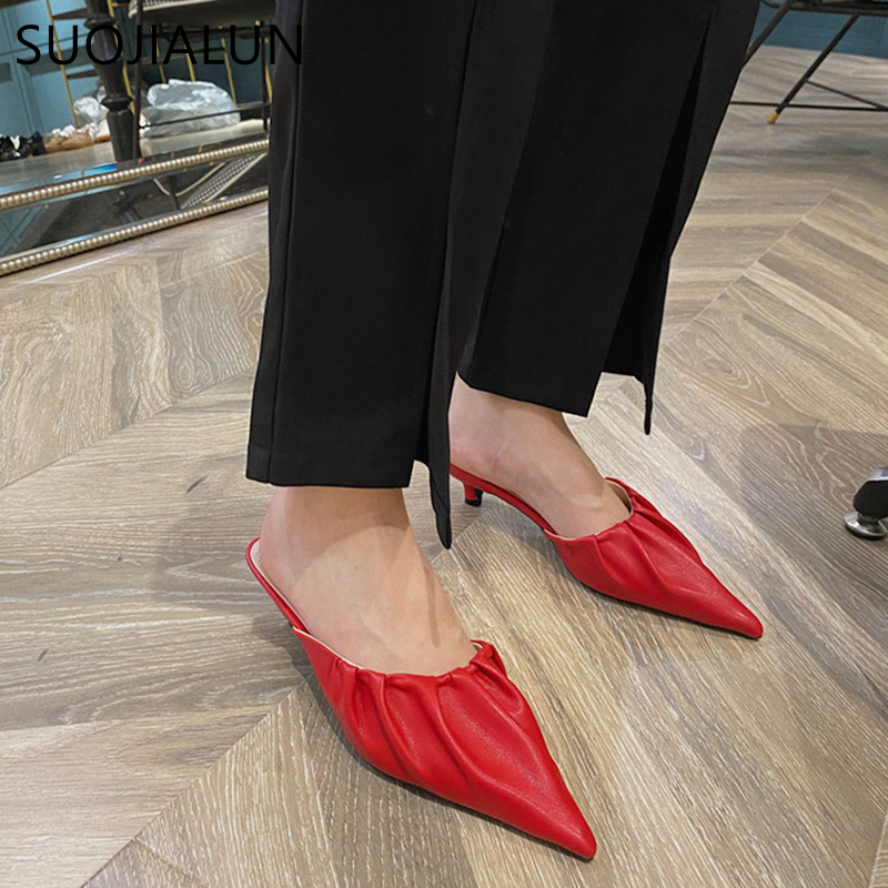 SUOJIALUN 2020 Spring New Elegant Women Mules Slipper Slip On Pointed Toe Low Heels Slippers Fashion Designer Pleated Slides Sho
