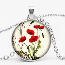 statement/new Charm Poppy Pendant  Glass Necklace Red Flower Gift for Female Lovers Girl.