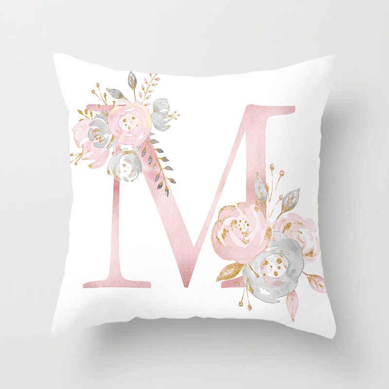 สีชมพูเบาะรองนั่งTropicโยนหมอนฝาครอบเบาะโพลีเอสเตอร์โซฟาเตียงตกแต่งหมอน