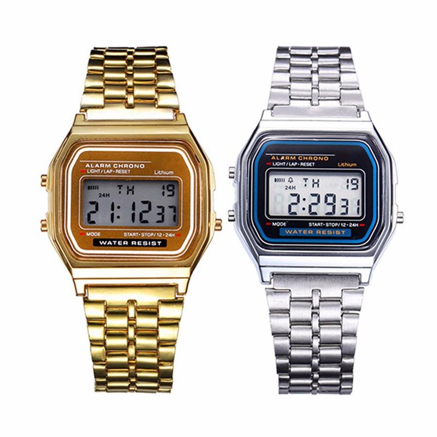 2020 New Stylish Women Men Unisex Electronic LED Digital Clock Rose Gold Silver Vintage Stainless Steel Watch Zegarek Damski