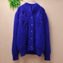 Moda Otoño mujer belleza femenina bordado patrón vintage puro Angora pelo de conejo tejido suéter cardigans abrigo invierno