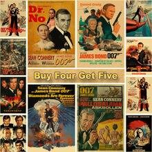 Lenda britânica james bond 007 cartazes retro papel kraft cartaz casa sala de estar decoração imagem bar do hotel arte da parede pintura