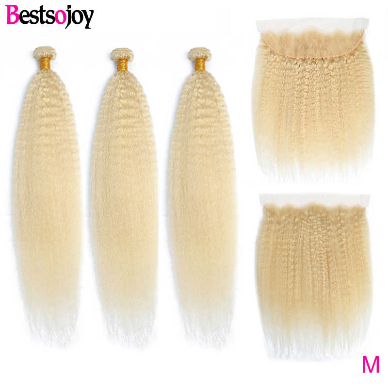 Bestsojoy Kinky Straight Hair 3 Bundles With Frontal 613 Blonde Brazilian Human Hair Weave with 13x4 Frontal Middle Ratio Remy