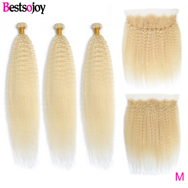 Bestsojoy Kinky Straight Hair 3 Bundles With Frontal 613 Blonde Brazilian Human Hair Weave with 13x4 Frontal Middle Ratio Remy image