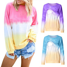 New Pregnant Women T-shirt Gradation Round Neck Long Sleeves Breastfeeding Casual Clothes Maternity Breast-Feed Nursing Top(China)