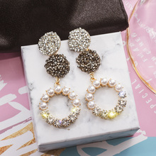 2019 Korean New Trendy Earrings Big Circle Transparent Crystal Beads Long Tassel For Women Fashion Jewelry