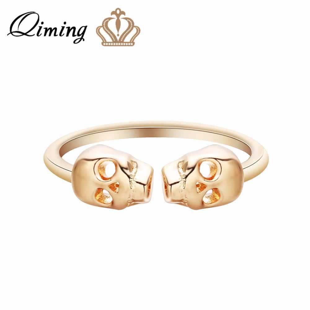 QIMING złoty Punk czaszka pierścień mężczyźni kobiety w stylu Vintage biżuteria akcesoria szkielet gotycki moda damska regulowane otwarte pierścienie prezent