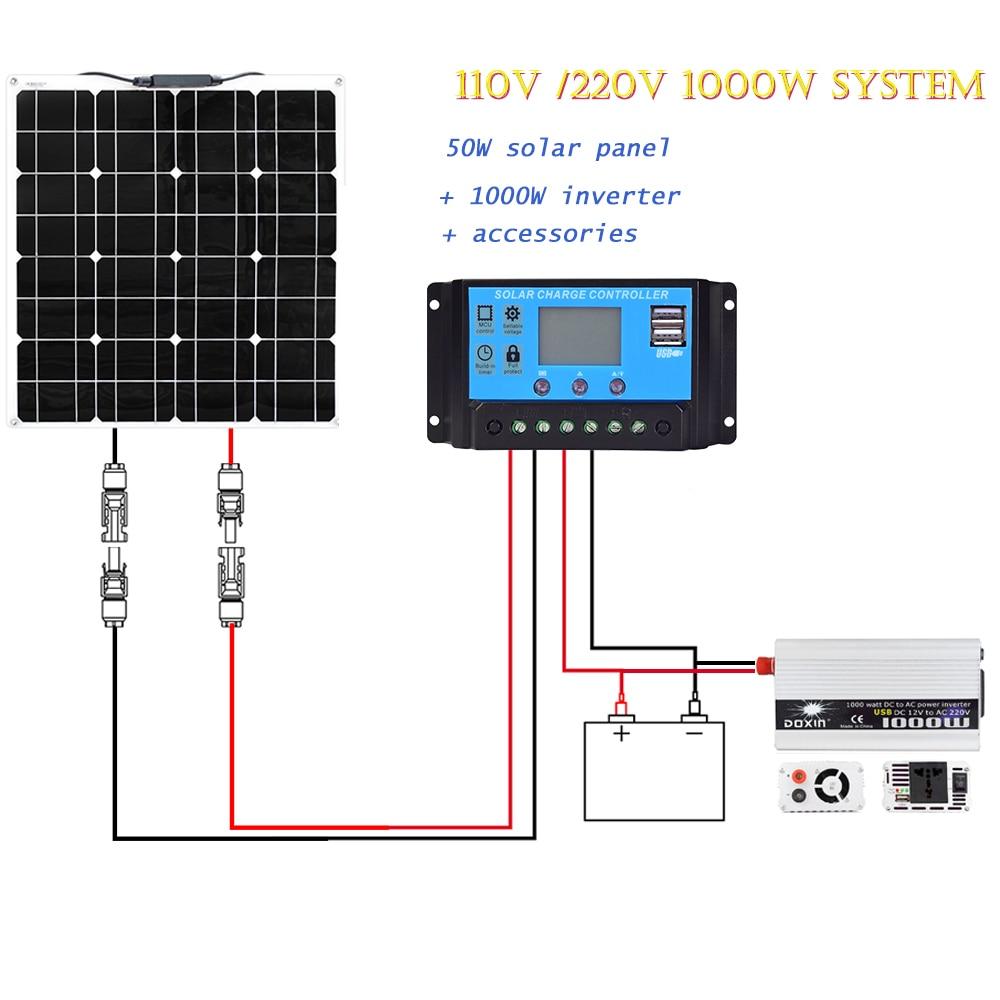 110V 220V Гибкая солнечная панель 50W с 1000W инвертором 12v 20A контроллер комплект система для дома освещение фермы мощность