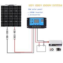Boguang 110 فولت 220 فولت مرنة لوحة طاقة شمسية 50 واط مع 1000 واط العاكس 12 فولت 20A مجموعة التحكم نظام للمنزل مزرعة الإضاءة السلطة