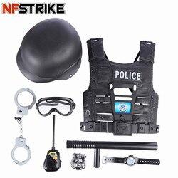 Nfstrike 8 pçs crianças jogar fingir brinquedo conjunto simulação polícia jogando ocupações educacionais brinquedos para crianças meninos presente de aniversário