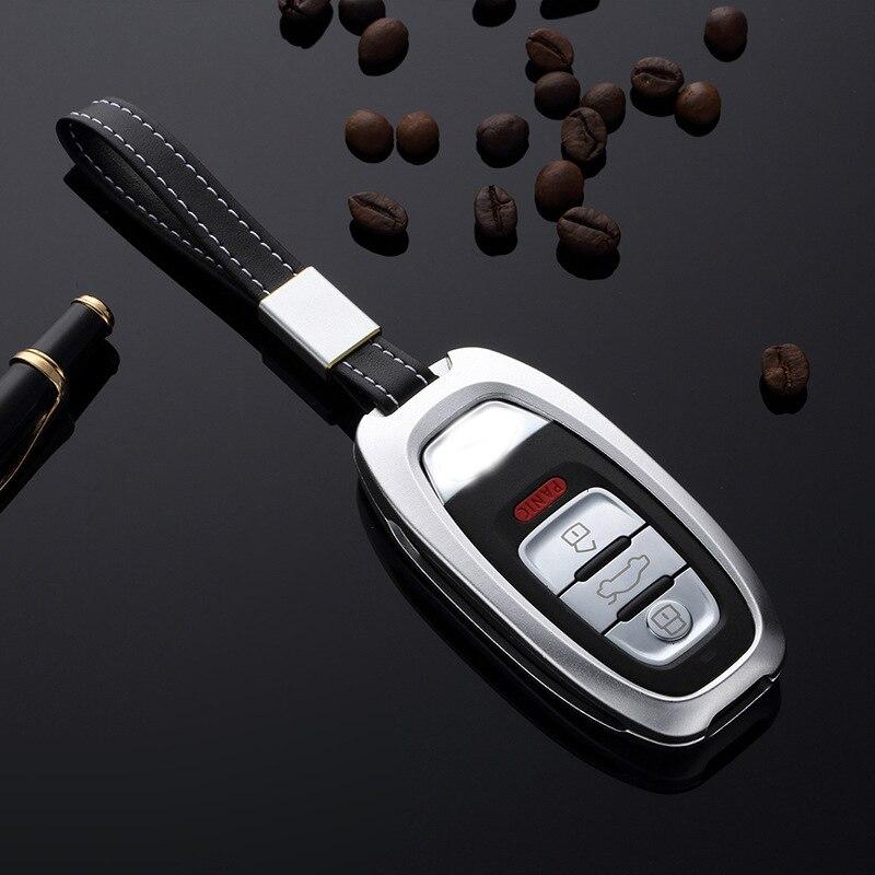 Aluminum Alloy Car Key Case Key Holder Cover Auto Key Shell For Audi A4L/A6L/A5/S6/Q5/A7/A8L Smart Key Accessories