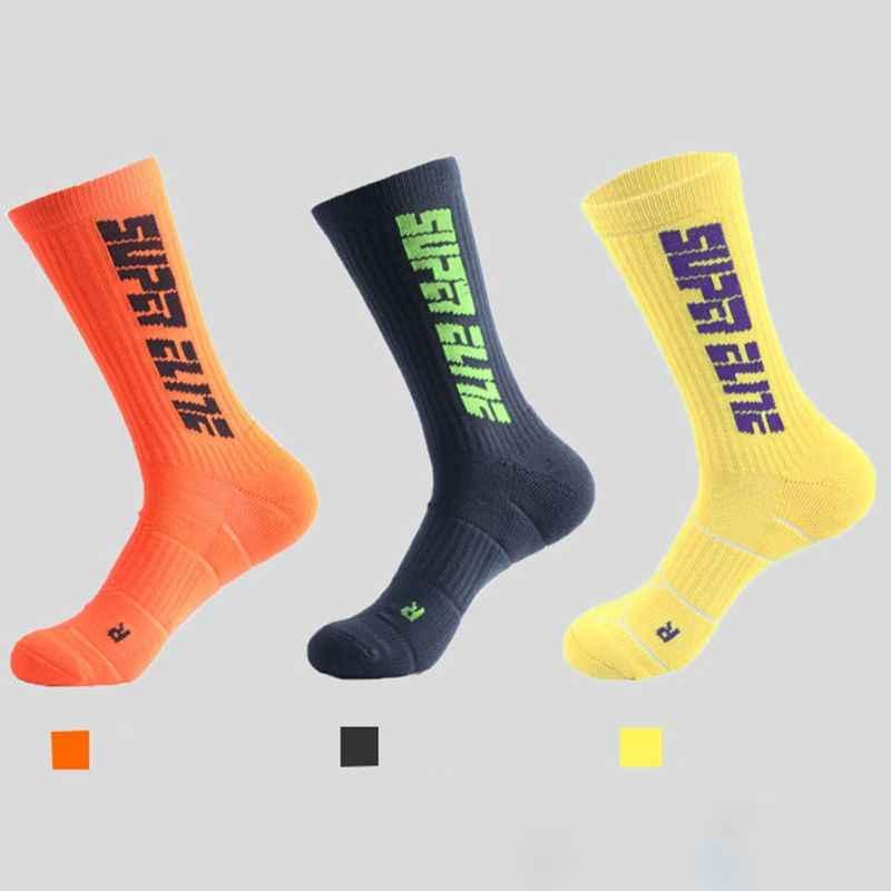 Mens Thicken Handdoek Bodem Basketbal Mid-Kalf Lange Sokken Contrast Kleur Letters Zweet Deodorant Sport Running Athletic Kousen