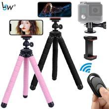 Tripé para telefone, flexível mini tripé com suporte remoto de telefone gopro mount para iphone android webcam