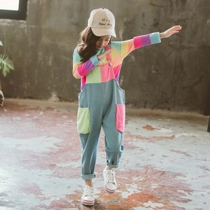 Image 2 - ילדי בגדי פסי T חולצה & סרבל בנות תלבושות סרבל ג ינס בנות חליפת ילדים מזדמנים סתיו חורף חליפות בנות