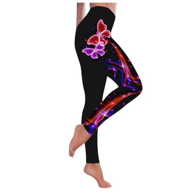 #R40 High Waist Leggings Push Up Leggins Butterfly Print Women Fitness Running Gym Pants Energy Leggings Sport Girl Leggins 2