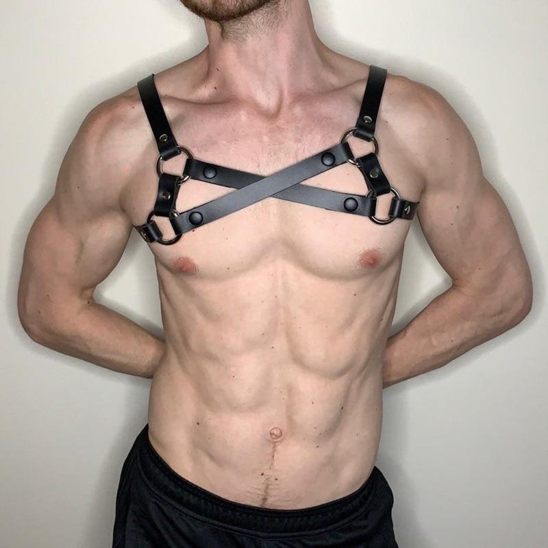 Мужской комплект для бондажа BDSM, искусственная кожа, набор для удержания, сексуальные костюмы для Хэллоуина, гей белье, Клубная одежда, секс...