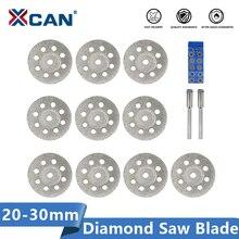 XCAN 다이아몬드 톱 블레이드 20mm 22mm 25mm 30mm Dremel 로타리 공구 용 맨드릴 포함 미니 다이아몬드 커팅 디스크