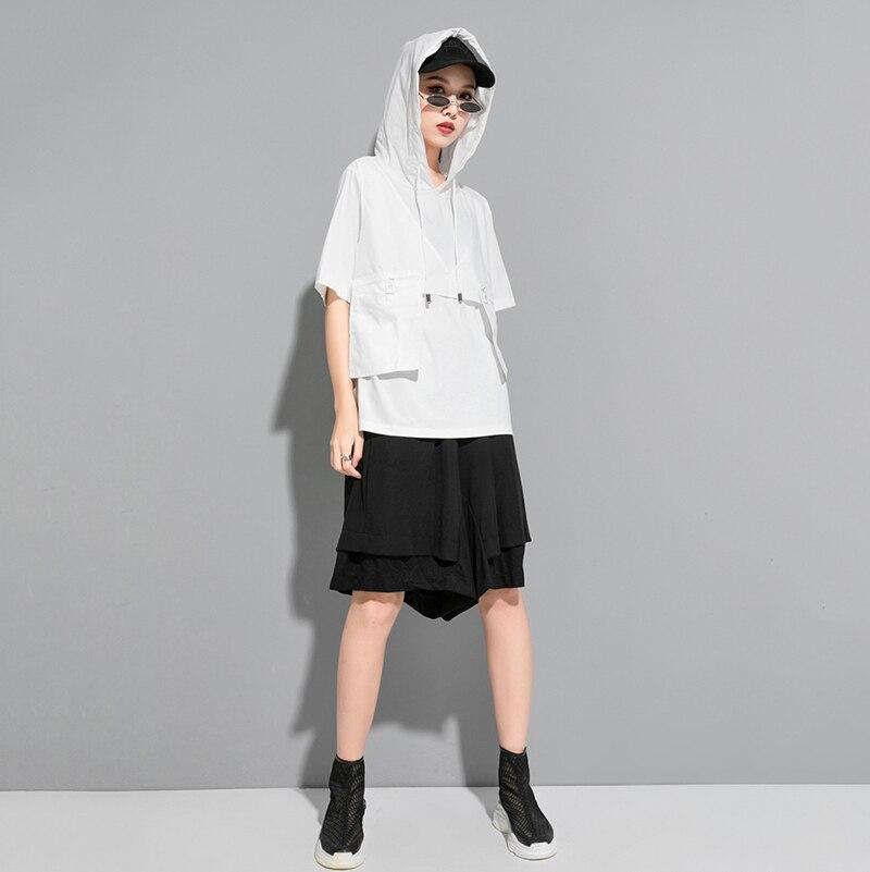 [EAM] Women Contrast Color Split Pocket Irrgular Big Size T-shirt New Hooded Short Sleeve  Fashion Tide Spring Summer 2020 1U512 6