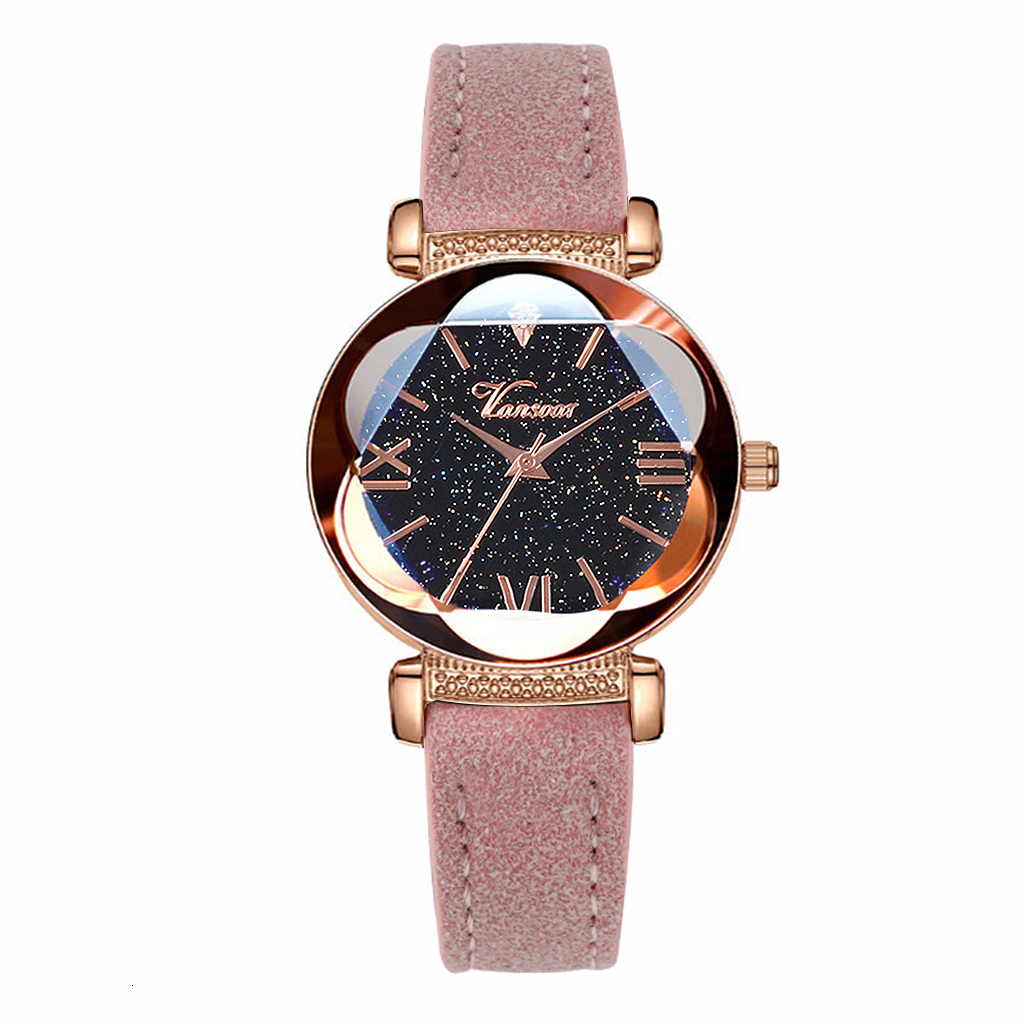 Hot Selling Women Starry Sky Roma Watch Casual Luxury Leather Rose Gold Flower Surface Quartz Clock Watch Dropshipping