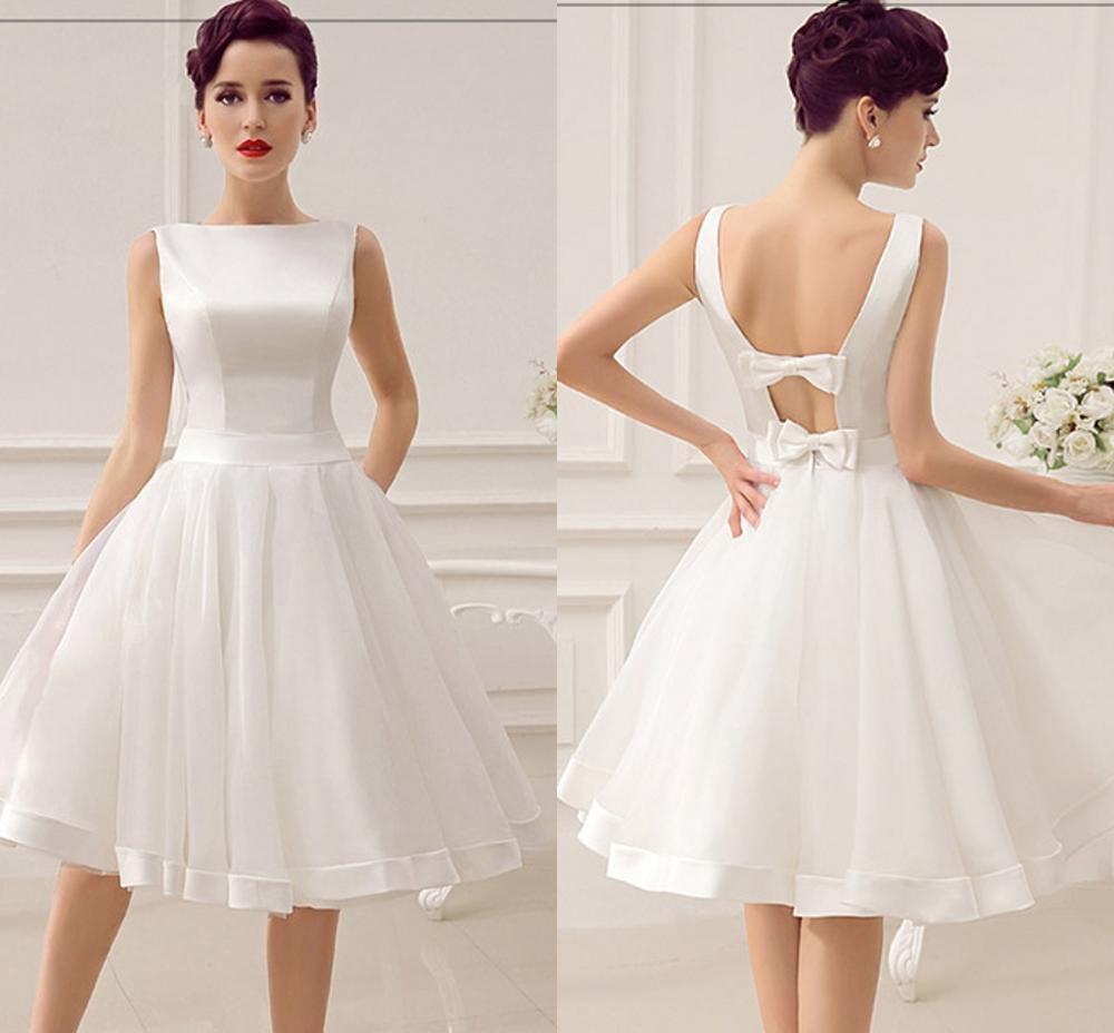 Vestidos de Noiva Short Wedding Dresses Vintage Bridal Dress 1950's Bateau Sleeveless Reception Gown