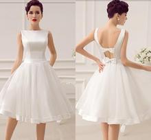 Vestidos de Noiva Short Wedding Dresses Vintage Bridal Dress 1950's Bateau Sleeveless Reception Gown