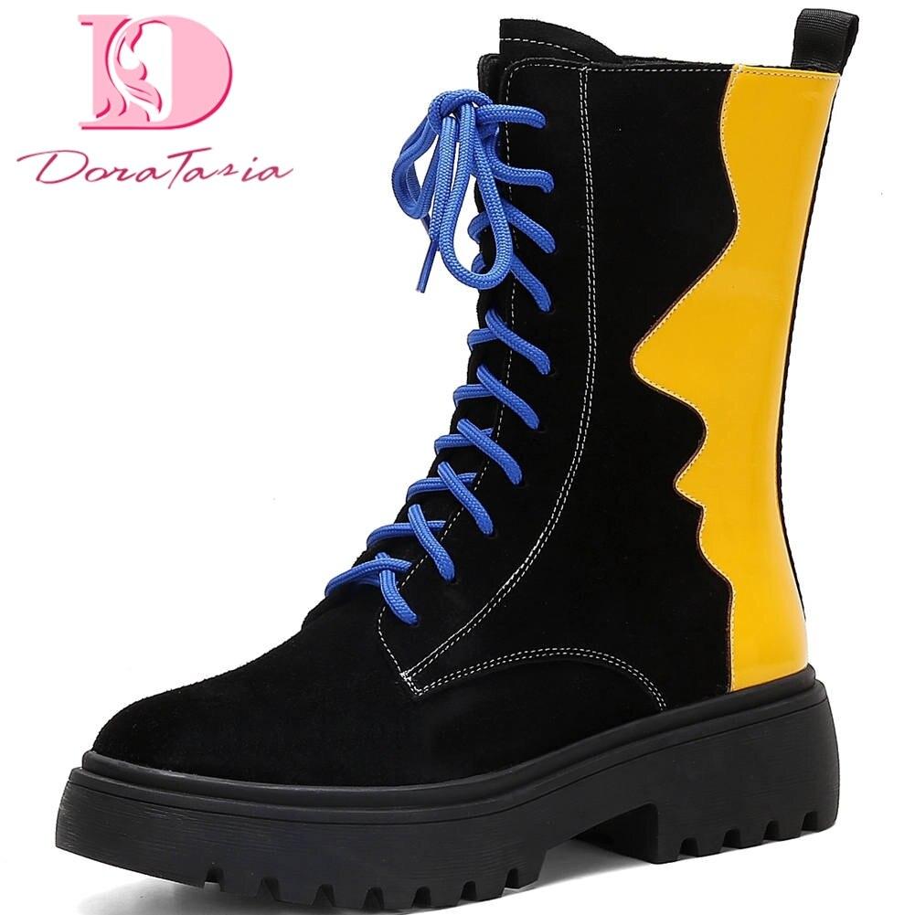 Doratasia Top qualité vache daim 2020 taille 41 talons Chunky bottines femmes chaussures à lacets Mix couleur INS chaussures chaudes femme bottes