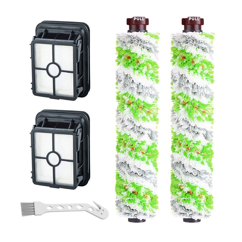 2 Packs Tangle-Free Multi-Surface Pet Brush Rolls + 2 Packs Vacuum Filters 1866 Replacement For Bissell Crosswave Vacuum Cleaner