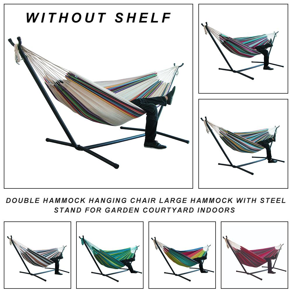 Canvas Double Hammock Hanging Chair Large Hammock With Steel Stand For Garden Courtyard Indoors Without Shelf Easy Installation