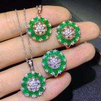 Super luxury Emerald Necklace ring, natural emerald, high end jewelry, 925 pure silver. Focus of the meeting