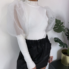 Women's Puff Sleeve Turtlenck Blouse Tops Sexy Knit Mesh Patchwoark Blouses Woman 2020 Spring Fashion Slim Clothes Female Mujer