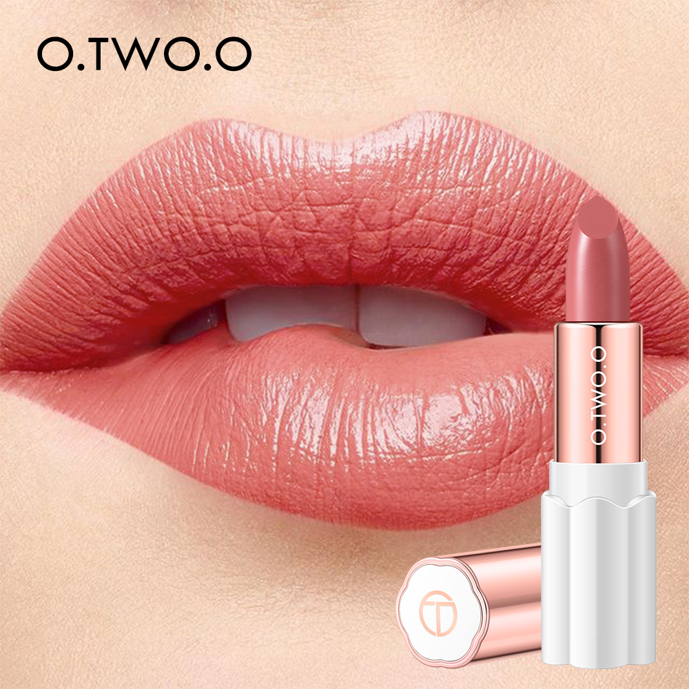 O.TWO.O Semi Velvet Lipstick Nude Rich Color Waterproof Moisturizing Long Lasting Lightweight Lips Makuep 12 Colors