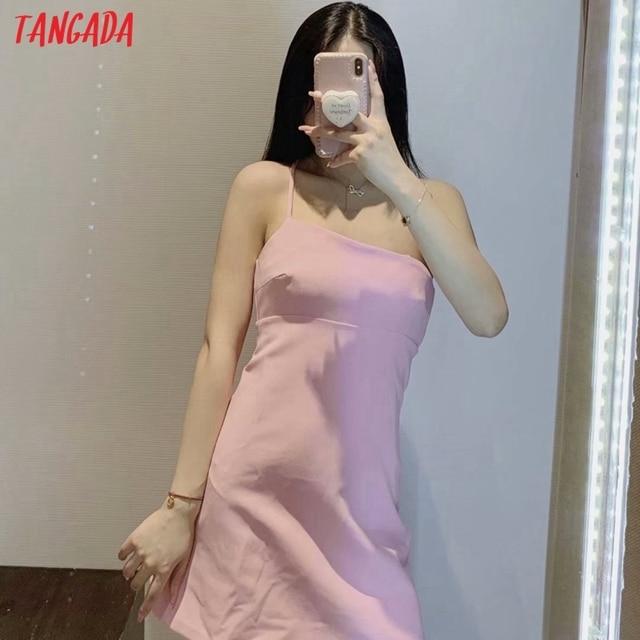 Tangada Women Solid Pink Mini Dress Strap Sleeveless 2021 Korean Fashion Lady Short Dresses Vestido 3H446 2