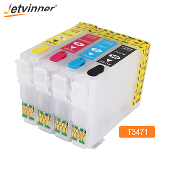 T34XL T3471 - T3474 Refillable Ink Cartridge with ARC Chips for Epson Workforce Pro WF-3720 WF-3725 Printer For Europe Printers 8x t220xl compatible ink cartridge for epson workforce wf 2630 wf2650 wf 2660 printer