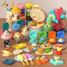 Children Simulation Kitchen DIY Toys Color Mud Set Food Ice Cream Machine Kids Kitchen Model Play House Toys Girl's Kitchen Toy