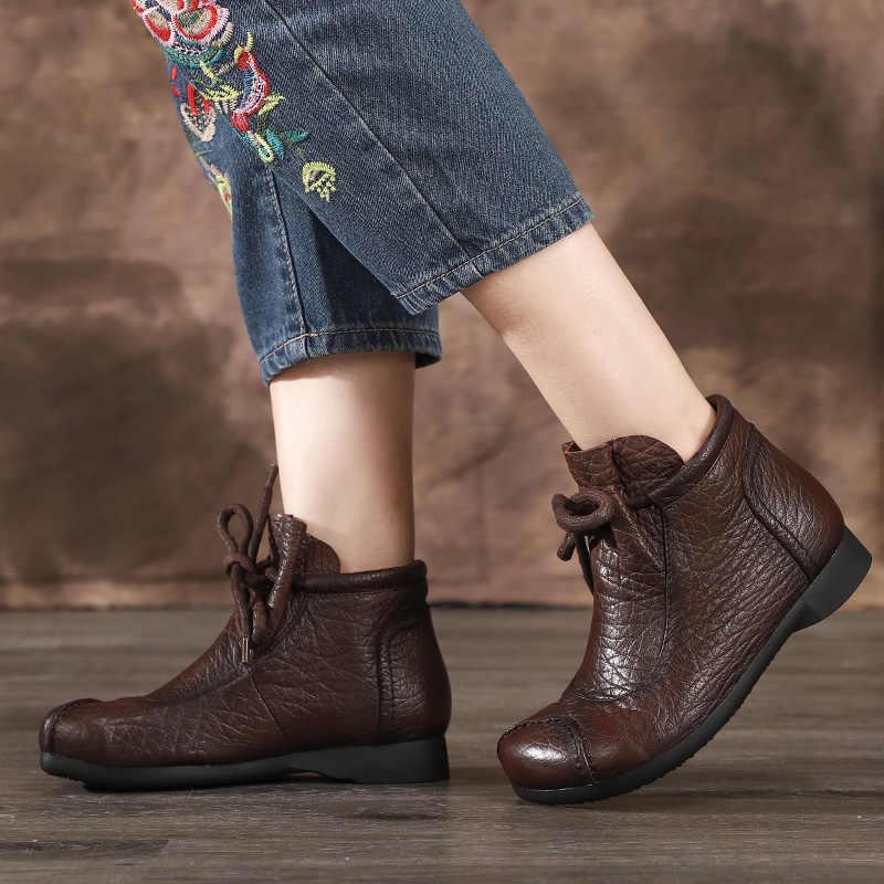 Lace Up patik kadın ayakkabı 2019 yeni varış hakiki deri Vintage el yapımı kadınlar rahat yumuşak anne ayakkabısı yarım çizmeler