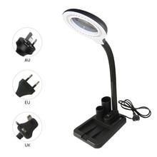 LED الجدول مصباح المكبر 5/10X مكبرة الزجاج مضيئة مصباح مكبر العدسة امب مكتب LED لمبة مكتب انحناء مصباح الطاولة
