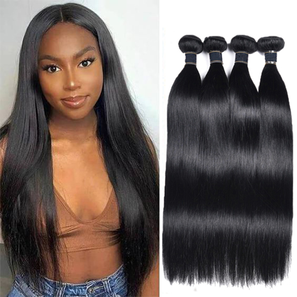 March Queen 9A Brazilian Hair Weave Bundles Remy Straight Human Hair Bundles For Black Women Double Weft 3/4 Hair Extensions
