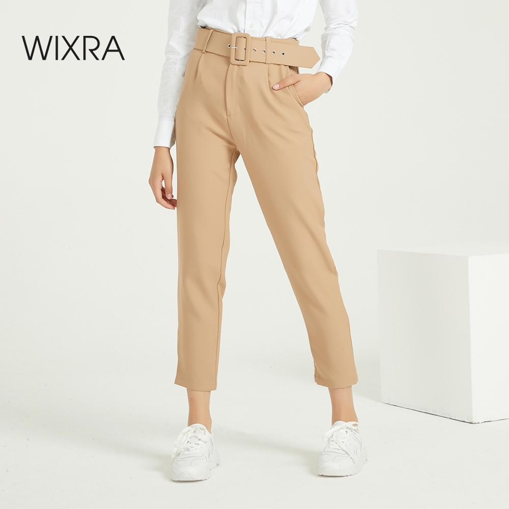 Wixra Women Suit Pants With Sashes Ladies Casual Bottoms Female Trouser Office Wear Pants Autumn Winter High Waist Trousers
