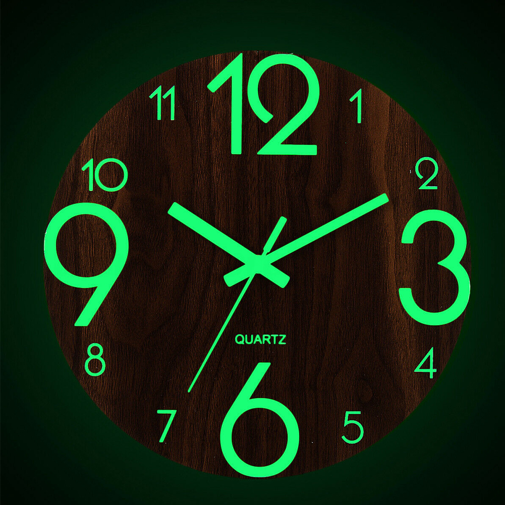 Night Lights Non Ticking Easy To Read Battery Operated Practical Office Luminous Wall Clock Home Decor Arabic Number Bedroom