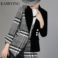 KAMIYING Velour Patchwork Wool Plaid Single Breasted Blazer Coat Female Long Sleeve Asymmetrical Women's Suits Fashion Clothes