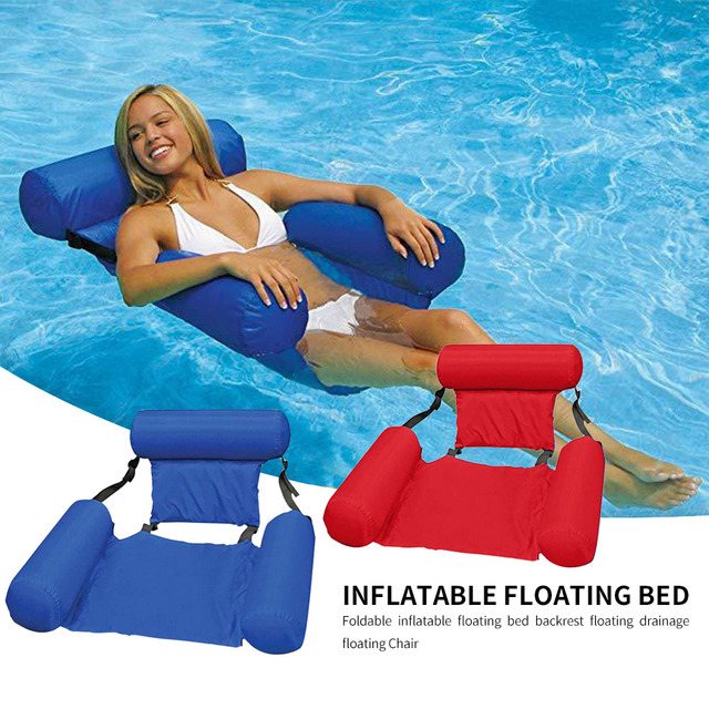 PVC Summer Inflatable Foldable Floating Row Swimming Pool Water Hammock Air Mattresses Bed Beach Water Sports Lounger Chair 1