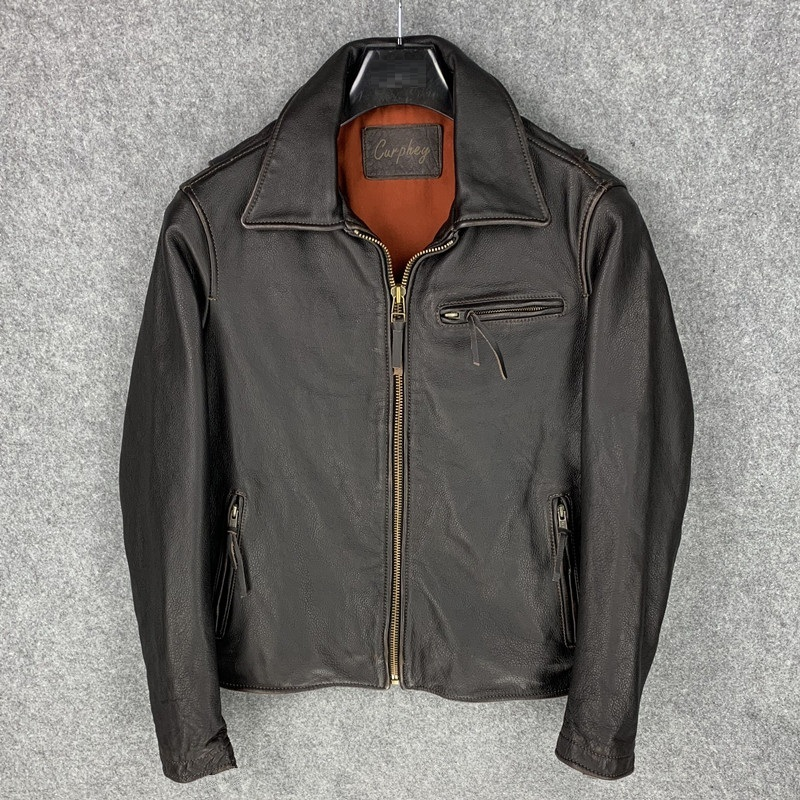 Free Shipping.US Casual Style,J25 Turkey Tea Core Cowhide Jacket,vintage Genuine Leather Coat.motor Biker Leather Jackets,sales