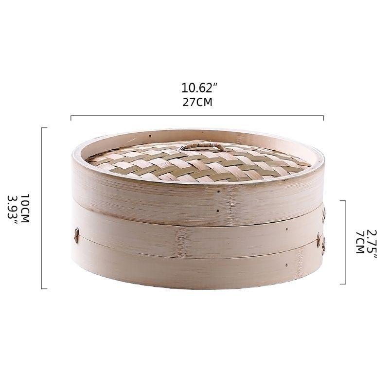 4 Inch Itchen Bamboo Steamer Basket Asian Food Steamer For Dim Sum Dumplings