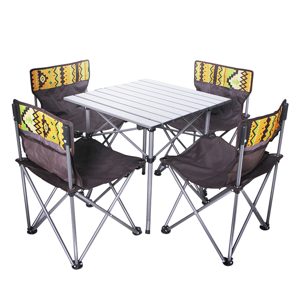 folding camping outdoor table and chairs five set portable picnic beach patio travel table chair set with carrying bag