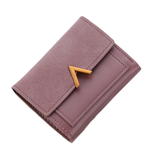 Womens short wallet card package fashion mini trend PU leather coin purse retro small luxury brand famous V sub-female and credit holder