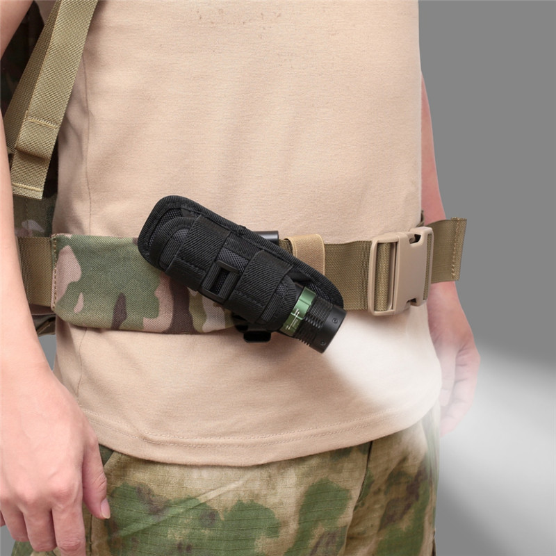 Rotatable Flashlight Pouch Holster Tactical 360 Degrees Torch Case For Belt Portable Cover Holder Hunting Lighting Accessories