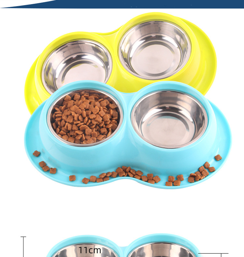 Pet Cat or Dog Anti Ants Water and Food Stainless Steel Double Bowls