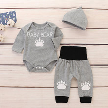 2019 Fashion Baby Clothes Fall Winter Infant Baby Boys&Girls Cartoon Letter Print Romper +Pants+Hat Outfits Set boys letter print romper with camo print pants